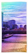 Chicago In November Chicago River South Branch Pa Rainbow 02 Beach Towel