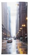 Chicago In The Rain Beach Towel