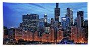 Chicago At Night Beach Sheet