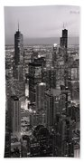 Chicago Loop Sundown B And W Beach Towel
