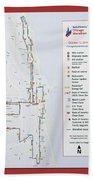 Chicago Marathon Race Day Route Map 2014 Beach Towel