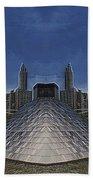 Chicago Millennium Park Bp Bridge Mirror Image Beach Towel
