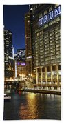 Chicago Night Lights Beach Towel