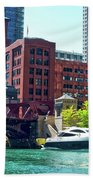 Chicago Parked By The Clark Street Bridge On The River Beach Towel
