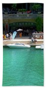 Chicago Parked On The River Walk Panorama 01 Beach Towel