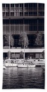 Chicago River Boats Bw Beach Towel