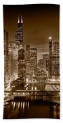 Chicago River City View B And W Beach Towel