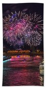 Chicago River Fireworks Beach Towel