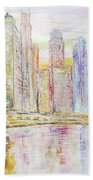 Chicago River Skyline Beach Towel