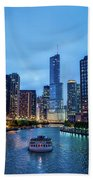 Chicago River Sunset Beach Towel