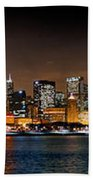 Chicago Skyline At Night Extra Wide Panorama Beach Towel