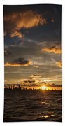 Chicago Skyline Sunset Beach Towel