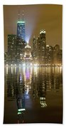 Chicago Skyline With Lindbergh Beacon On Palmolive Building Beach Towel