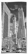 Chicago Water Tower Shopping Black And White Beach Towel