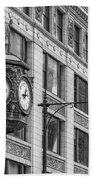 Chicago's Father Time Clock Bw Beach Towel