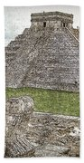 Chichen Itza Draw-like Beach Towel