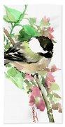 Chickadee And Spring Blossom Beach Towel