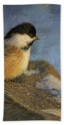 Chickadee Winter Perch Beach Towel