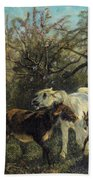 Child And Sheep In The Country Beach Towel