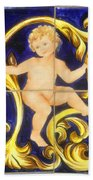 Child In Blue And Gold Beach Towel