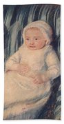 Child On A Sofa Beach Towel by Mary Cassatt