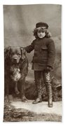 Child With Dog, C1885 Beach Towel