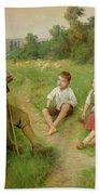Children Listen To A Shepherd Playing A Flute Beach Towel