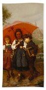 Children Under A Red Umbrella Beach Towel