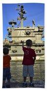 Children Wave As Uss Ronald Reagan Beach Towel by Stocktrek Images