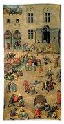 Children's Games Beach Towel by Pieter the Elder Bruegel