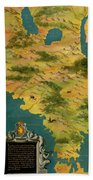 Chile And Argentina With The Magellan Strait Beach Towel