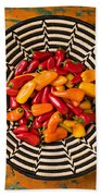 Chili Peppers In Basket  Beach Towel