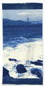 China Beach And Golden Gate Bridge With Blue Tones Beach Towel