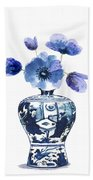 China Blue Vase  With Poppy Flower Beach Towel