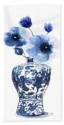 China Ming Vase With Flower Beach Towel