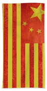 Chinese American Flag Vertical Beach Towel