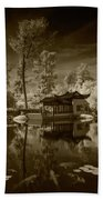 Chinese Botanical Garden In California With Koi Fish In Sepia Tone Beach Towel