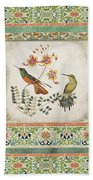 Triptych - Chinoiserie Vintage Hummingbirds N Flowers Beach Towel