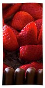Chocolate And Strawberry Cake Beach Towel