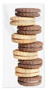 Chocolate And Vanilla Creamed Filled Cookies  Beach Towel