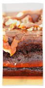 Chocolate Brownie With Nuts Dessert Beach Towel
