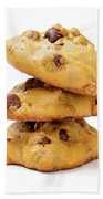 Chocolate Chip Cookies Isolated On White Background Beach Towel