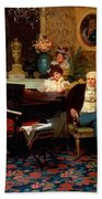 Chopin Playing The Piano In Prince Radziwills Salon Beach Towel