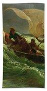Christ Asleep In His Boat  Beach Sheet