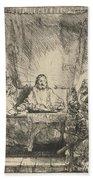 Christ At Emmaus: The Larger Plate Beach Towel