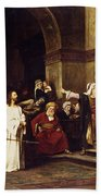 Christ Before Pilate Beach Towel by Mihaly Munkacsy