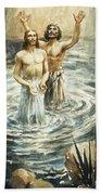 Christ Being Baptised Beach Towel