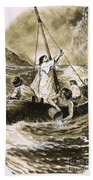 Christ Calming The Storm Beach Towel