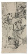 Christ Disputing With The Doctors: A Sketch Beach Towel