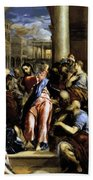 Christ Driving The Traders From The Temple 1576 Beach Towel